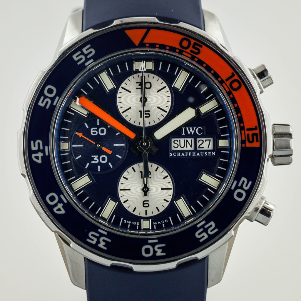 Iwc Aquatimer Chronograph Blue Orange Mens Rubber Band