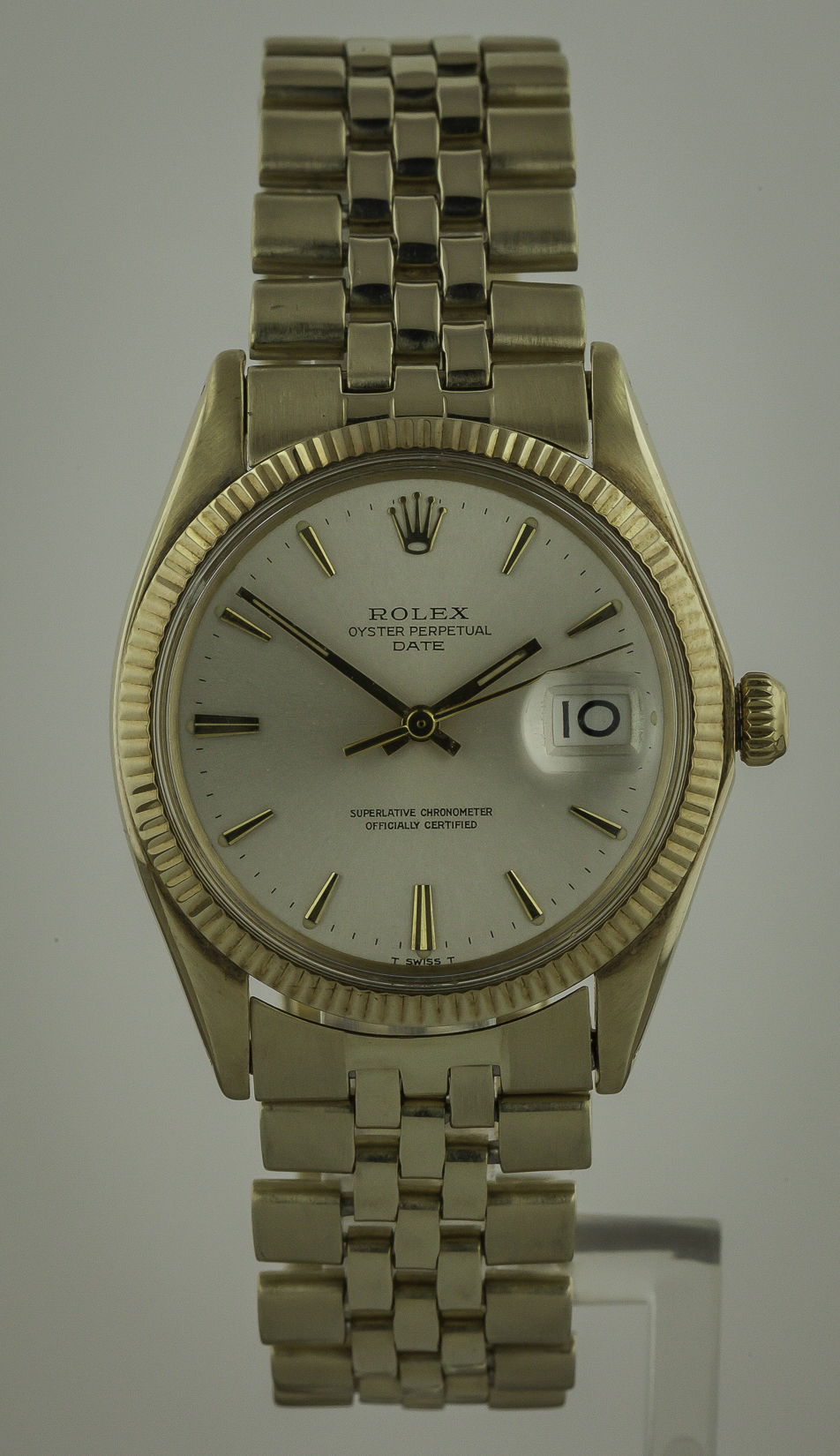 Rolex Oyster Date Mens 14k Yellow Gold 1503 Jubilee