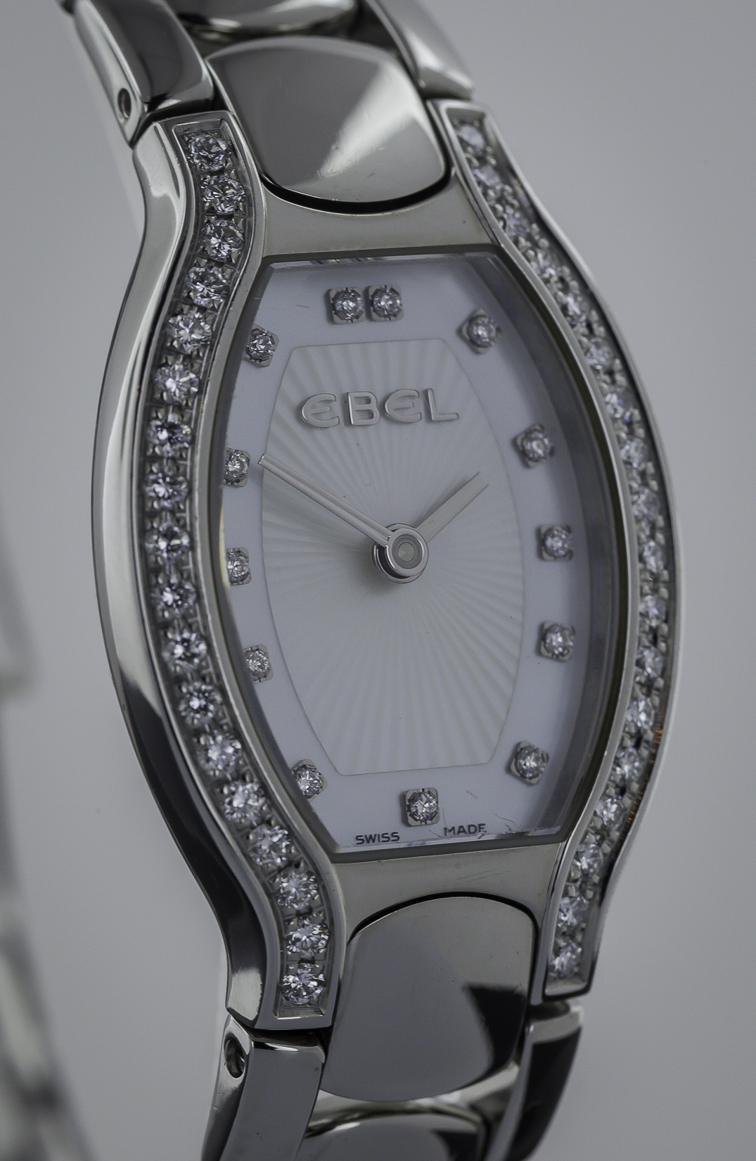 Ebel Beluga Tonneau Ladies Stainless Steel Diamonds