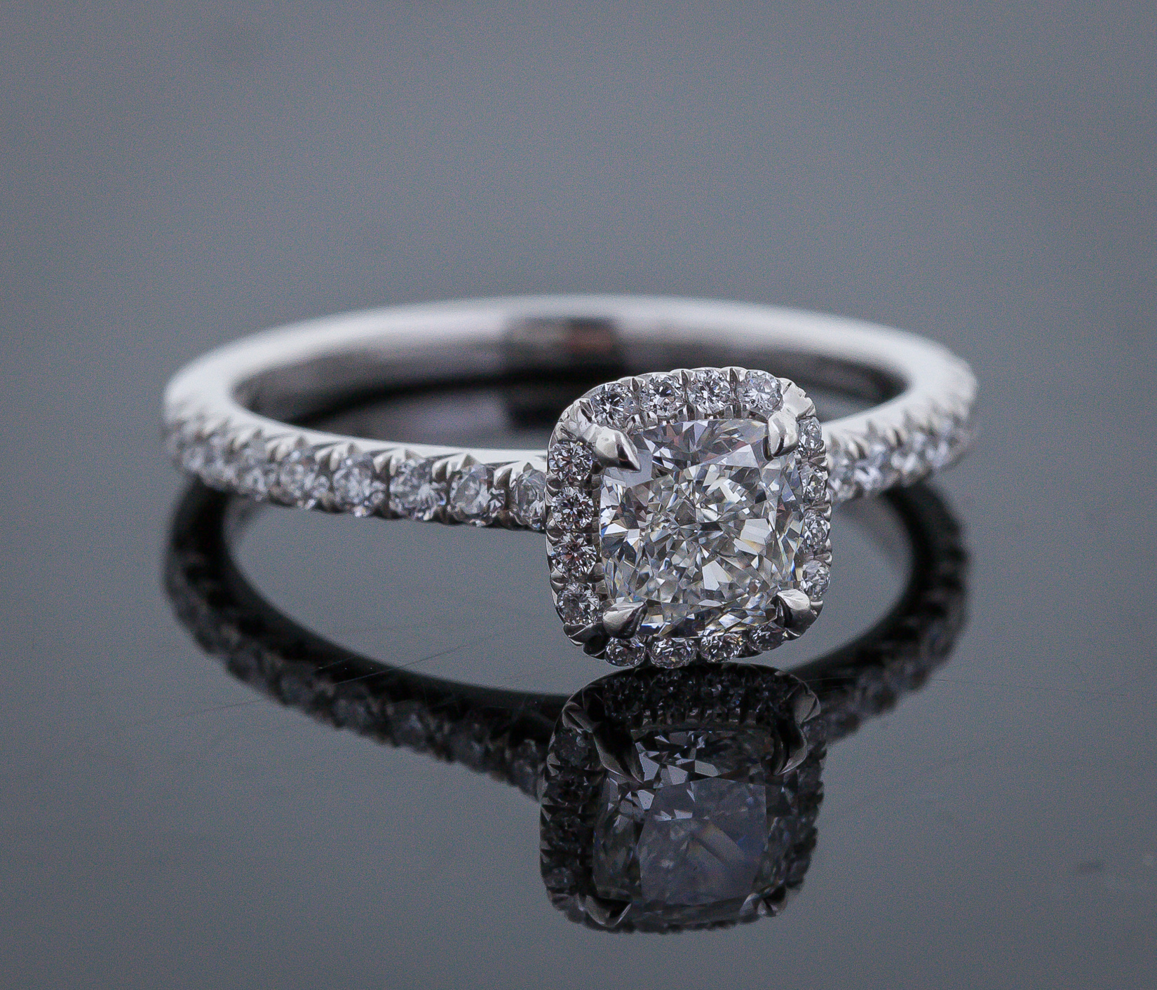 James Allen Platinum Halo And Shank Pave Set Diamond