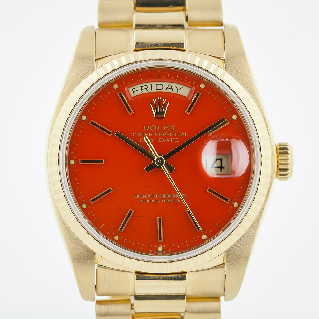 Rolex Pesident Day Date Ref 18038 Mens 18k Yellow Gold Excellent Spider Red Stella Dial